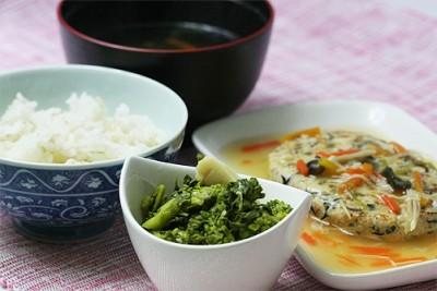 五目豆腐ハンバーグセット