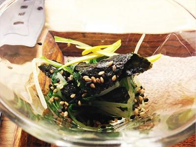 水菜の山葵海苔和え