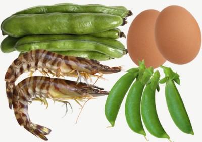 エビとそら豆の卵いため 材料